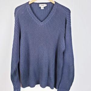 J.Crew - Navy Blue V-neck 100% Cotton Size XL